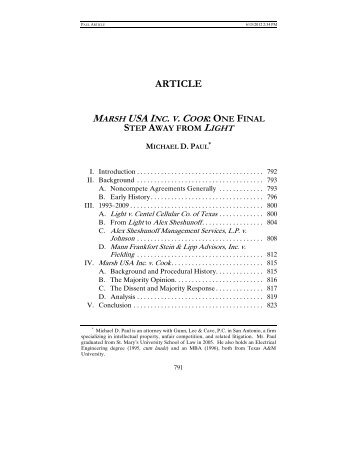 ARTICLE MARSH USA INC. V. COOK - St. Mary's Law Journal