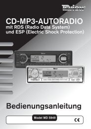 CD-MP3-AUTORADIO Bedienungsanleitung - medion