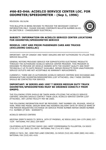 66-83-04A: ACDELCO SERVICE CENTER LOC  FOR     - JustAnswer