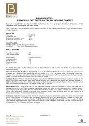 baia lara hotel summer 2012 fact sheet & ultra all inclusive concept
