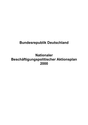 Nationaler Beschäftigungspolitischer Aktionsplan 2000 - Universität ...