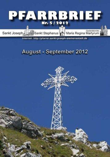 August - September 2012 PFARRBRIEF - St. Joseph, Siemensstadt