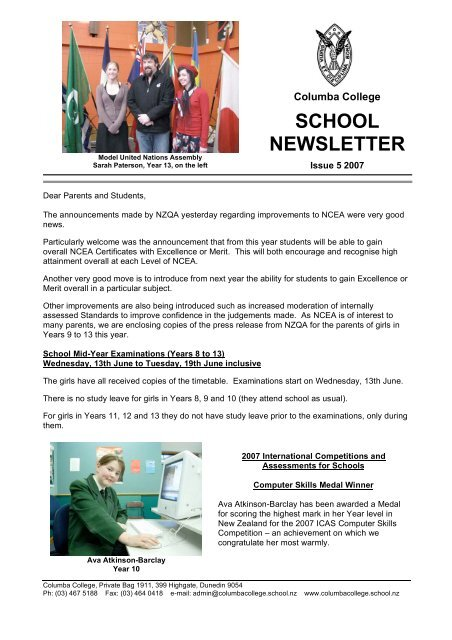 School Newsletter Columba College