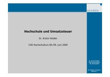 Beitrag Heidler, Hochschule und Umsatzsteuer - Hochschulkurs
