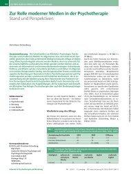 Zur Rolle moderner Medien in der Psychotherapie - Christiane ...