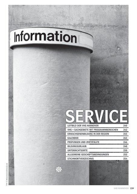10 Service Mit Stichwortverzeichnis Volkshochschule Hannover