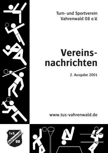 Vereinsnachrichen des TuS Vahrenwald 08 e.V.- Heft 2/2001