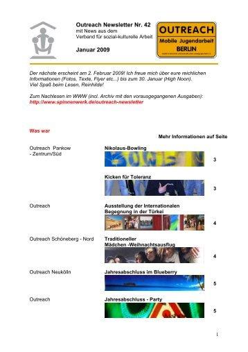 Outreach Newsletter Nr. 42 Januar 2009 - Spinnenwerk