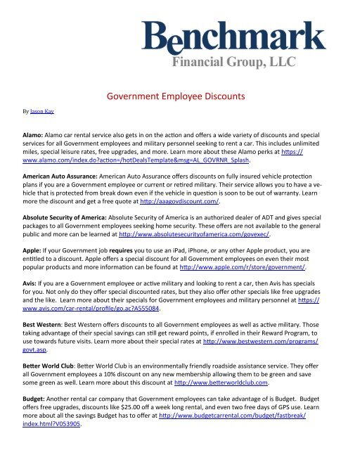 Military Discount Car Rental >> Government Employee Discounts Benchmark Financial Group