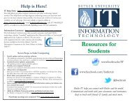 Resources for Students - Butler University