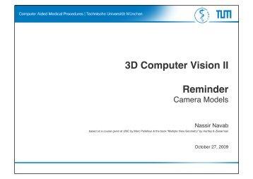 3D Computer Vision II Reminder