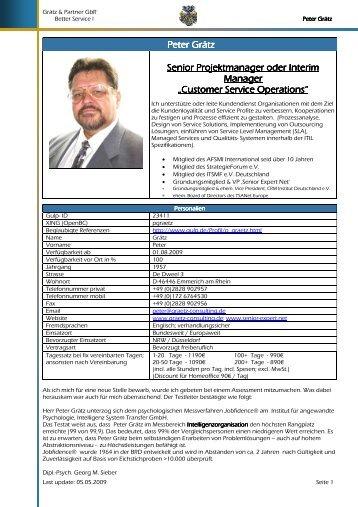 Mein Profil - Peter Grätz, Projektmanagement