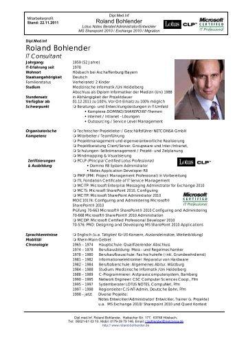 EON - Mitte - Profil: Dipl.med.Inf. Roland Bohlender
