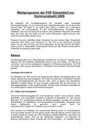 Wahlprogramm der FDP Düsseldorf zur Kommunalwahl 2009