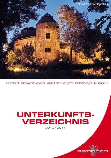 UNTERKUNFTS- VERZEICHNIS - Ratingen Marketing GmbH
