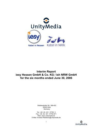 Interim Report iesy Hessen GmbH & Co. KG / ish NRW GmbH for the ...