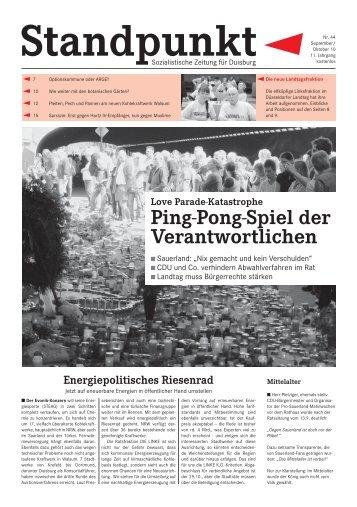 Ping-Pong-Spiel der Verantwortlichen - Linksfraktion Duisburg