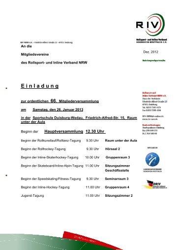 E i n l a d u n g - Rollsport- und Inline Verband NRW e.V.