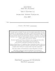 SOLUTIONS MAT 167: Statistics Test I - Anthony Tanbakuchi