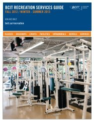 BCIT recreation services guide fall 2012-summer 2013
