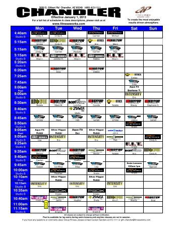 RECREATIONAL SERVICES Group Fitness Class Schedule ...