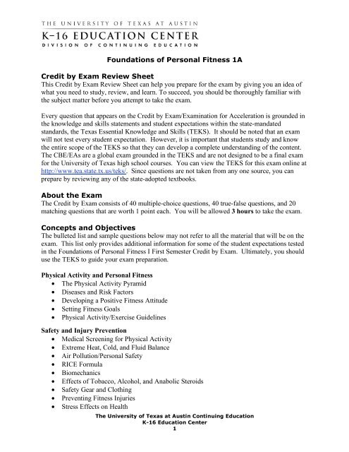 Foundations of Personal Fitness 1A Credit by Exam Review
