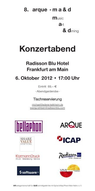 ma&d music art & dining Konzertabend Radisson Blu ... - ARQUE-Lauf