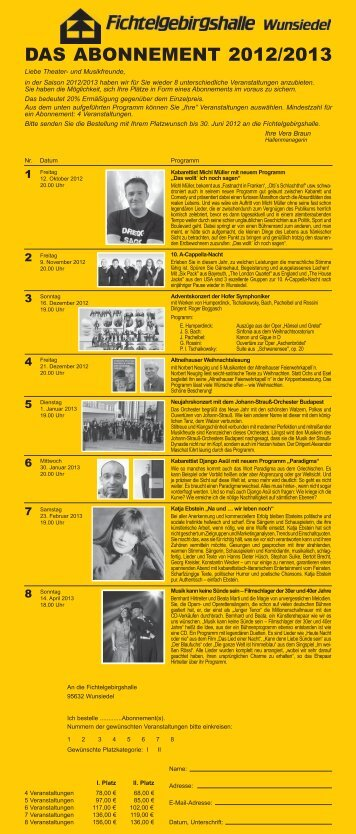 Das Abonnement 2012/2013 - Wunsiedel