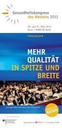 Qualität in SPitze und Breite - Gesundheitskongress des Westens