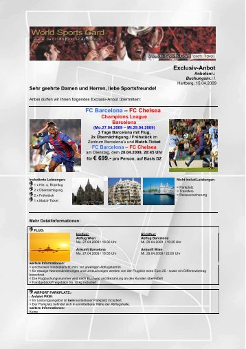 Exclusiv-Anbot FC Barcelona – FC Chelsea - World Sports Card