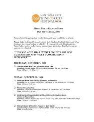 Media Ticket Request Form [pdf] - 2010 NYC Wine & Food Festival