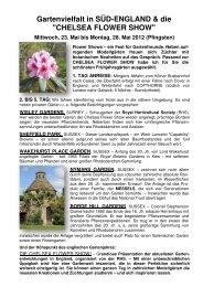 CHELSEA FLOWER SHOW - Gartenreisen Ulrike Kocher