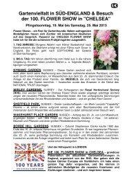 Süd-England & CHELSEA FLOWER SHOW - Gartenreisen Ulrike ...