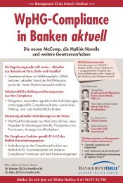 WpHG-Compliance in Banken aktuell - Management Circle AG