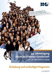 44. Jahrestagung Deutsche Diabetes-Gesellschaft Einladung und ...