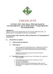 Checkliste für KT-KFZ - Transporteure