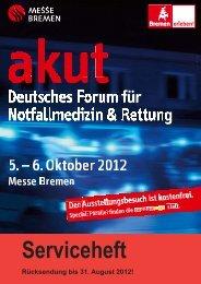 Serviceheft - akut - Deutsches Forum für Notfallmedizin & Rettung