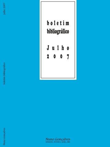 boletim bibliográfico Julho 2 0 0 7 - Otium Cum Dignitate
