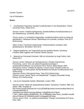 July 2012 Gunther Teubner List of Publications Books 1 ...