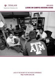 Living on Campus Guide - Department of Residence Life - Texas ...
