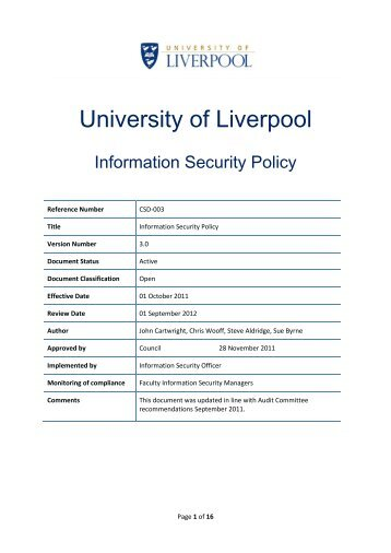 Information Security Policy - University of Liverpool