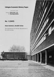 Cologne Economic History Paper No. 1 (2009) - Wirtschafts- und ...