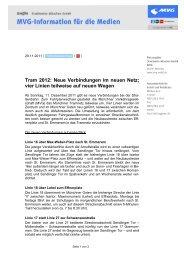 Tram 2012: Neue Verbindungen im neuen Netz - MVG