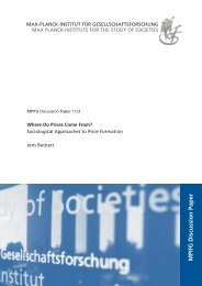 Where Do Prices Come From? Sociological Approaches to ... - MPIfG