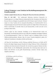 neue Funktion im Beschaffungsmanagement für ... - Lafarge