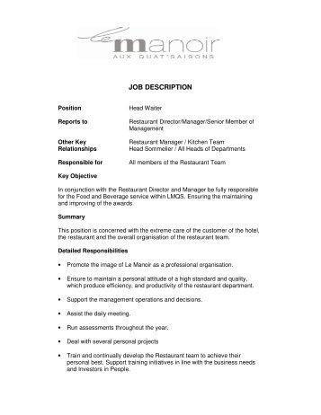 Waiter Job Description For Resume,resume waitress or resume sample ...