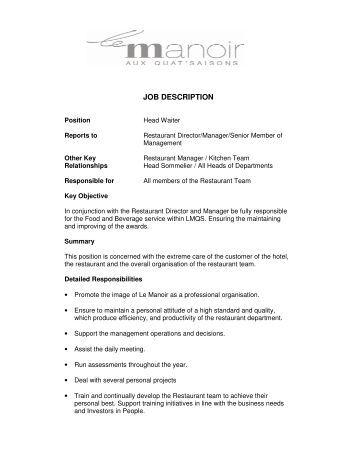 head waiter job description orient express waiter job description
