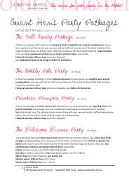 Orient Hen's Party Packages