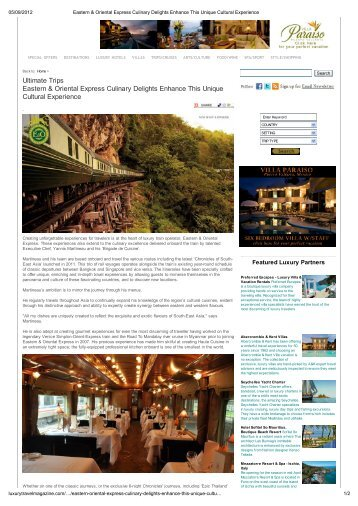 Ultimate Trips Eastern & Oriental Express ... - by Orient-Express
