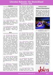 Literatur-Kalender für Deutschland